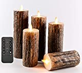 Flameless Flickering Candles, Decorative Battery Operated Candles, Real Wax Candles with Dancing LED Flame & 10-Key Remote Control 2/4/6/8 Hours Timers (Birch Effect),Set of 5