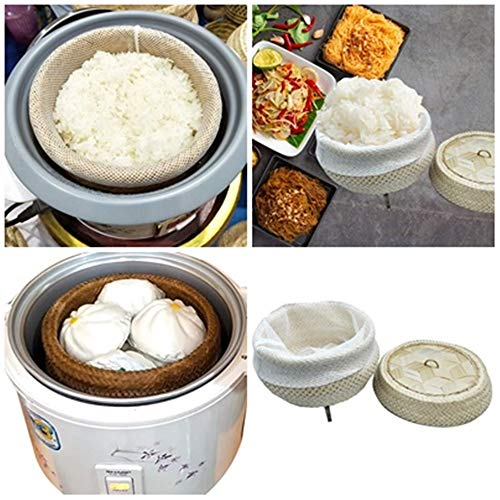 Professional Wickerwork Thai Traditional Rice Steamer Eco-Friendly Basket Bamboo with Lid Sticky Rice Cooker Steamer Thai Home Electric Cooker Pot Skimmer Food Safe Free Cloth 1 piece
