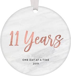 11 Years Clean & Sober Ornament Keepsake Christmas 2019 Women Celebrate 11th Anniversary Addiction Sobriety Recovery Gift Idea Modern Sleek Blush Pink Marble 3