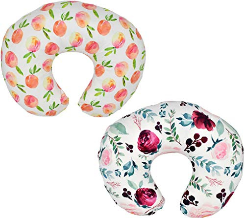 2 Pack (Floral & Peach) Nursing Pillow Cover Slipcover for Breastfeeding Pillows, Soft and Comfortable Safely Fits On Standard Infant Nursing Pillows (Floral & Peach)