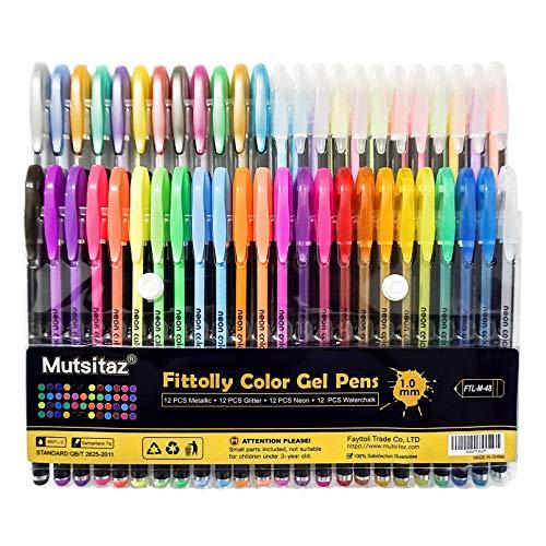 48 Stück Gelschreiber Gelstifte Set Inklusive Glitter Metallisch Pastell 4 Arten für Zeichnen Schreiben Erwachsene und Malbücher by Mutsitaz