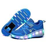 Unisex-Jungen-Mädchen LED Trainer Roller Skates Schuhe mit Einfachbereifung Retractable Leichte...