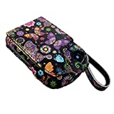 Freestyle Libre Abbott Reader Genuine Leather Protective Carrying Case with Clip and Carrying Handle Black (Butterflies)