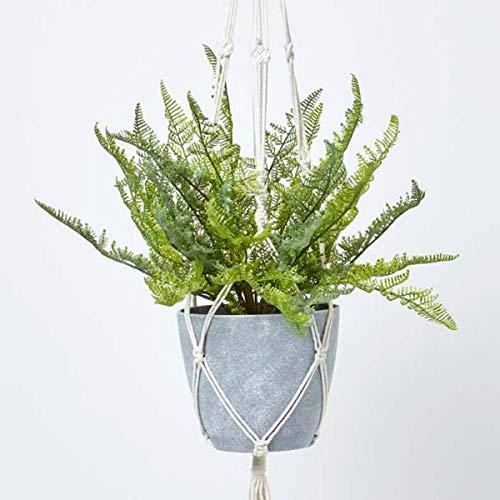Homescapes Hängender Künstlicher Farn im grauen Topf, Künstliche Grünpflanze Hängepflanze mit Blumenampel, Melamintopf, Seil und Haken, Hängende Farnpflanze im Hängeampel, grün