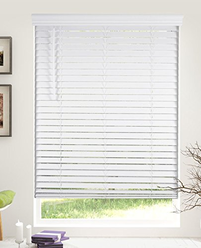 Calyx Interiors Inch Snow White Cordless 2' Faux Wood Blind with Royal Valance, 34-Inch Width x 60-Inch Height