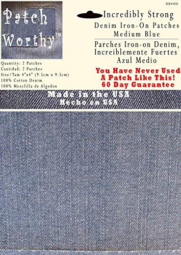 2 Pack Medium Blue 4'x4' Iron on Patches - Strongest Iron on Denim Jean Patch