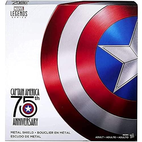 PRETAY Avengers Réplica de Marvel Escudo Capitan America 60Cm Edición 75 Aniversario,Los Vengadores Marvel Capitán América Disfraz de Metal Shield 1: 1 Apoyos de Película
