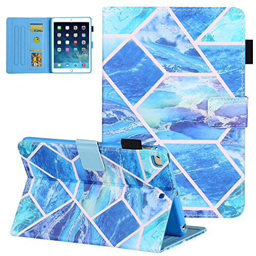 UGOcase Case for iPad 6th Gen 9.7' 2018 Case with Pen Holder, iPad 9.7 2017/iPad Air 2/Air 1 Case, Synthetic Leather Shockproof Wallet Stand Auto Wake Sleep Cover for iPad 9.7' 2018 2017 - Blue Grid