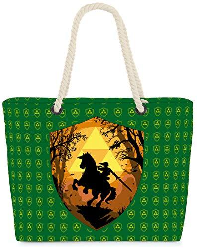 VOID XXL Sac de Plage Ride Through Hyrule Shopper Beach Bag 60x38x16cm 36L Shopping, Kissen Farbe:Vert