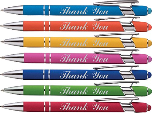 """""""Thank You"""" wording imprinted Pen on our Rainbow Rubberized Soft Touch Ballpoint Pen with Stylus Tip is a stylish, premium metal pen, black ink, medium point. (7 Pack)"""