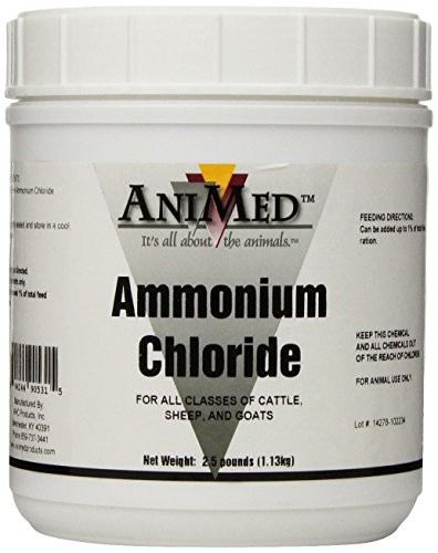 AniMed Powder 99.9-Percent Ammonium Chloride for Horses Dogs Cats Cows Sheep and Goats, 2.5-Pound