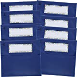 Really Good Stuff Classic Chair Pockets - Set of 8 - Classroom Chair Organizer with Name Tag Keeps Students Organized and Classrooms Neat - Blue