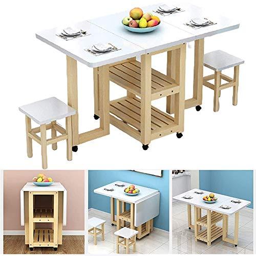 XWL Beistelltische Mobile Folding Esstisch Set und 2 Stühle, 2-6 Personen Retractable rechteckig Multifunktionstisch, Compact Schreibtisch mit Abstellflächen