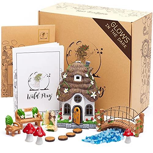 WILD PIXY Fairy Garden Kit - Glow in The Dark Fairy Garden Accessories Set, 7.1' Fairy House with...