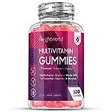 GUMMIES Multi-vitamines - Complément alimentaire cheveux avec Zinc, Acide folique, Vitamine D, B, C pour optimum nutrition - Aide enzymes digestives - Arôme alimentaire naturel de fraise - 120 gélules