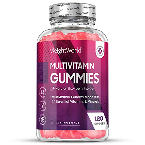 High Strength Chewable Multivitamin Gummies - 120 Count Vegetarian 14 Essential Multivitamins & Minerals Supplement, Vitamin C, A, D, B, Biotin + Zinc, Multivitamin Tablets For Men & Women Alternative