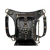 Segater Bolso gótico steampunk de la cintura, bolsa de brazo de la pierna de la caída, bolsa de hombro riñonera bolsa bolsa negra mochila de senderismo al aire libre bolsa