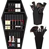 nanayo Makeup Coffin Shelf And Coffin Brush Holder – 3 Shelf Coffin Makeup Holder for Gothic Decor – Free Standing or Wall Hanging Makeup Organizer Spooky Coffin Decor for Bedroom or Bathroom