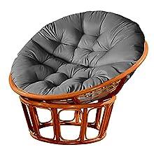 zebroau Cojín de silla para colgar, cojín redondo para silla de patio Papasan, cojines suaves y gruesos, cojines para sillas de columpio Papasan, resistentes al agua, sin silla, 120 x 120 cm