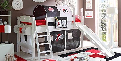 lifestyle4living Hochbett für Kinder in schwarz-Weiss mit Rutsche, Vorhang im Piraten Motiv | Spielbett aus Kiefer Massivholz mit Einer Liegefläche 90x200 cm