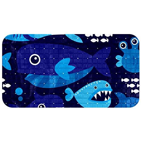 Alfombrilla de baño antideslizante con agujeros de drenaje, color azul marino