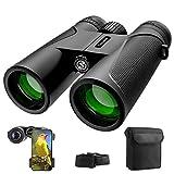 Prismaticos, 12x42 HD Prismaticos Profesionales con Adaptador de Teléfono, Prismas BaK4 y FMC. Ideales para Observación de Aves, Caza, Senderismo, Astronomía y Camping Prismáticos