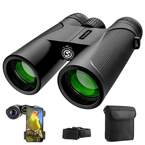 Fernglas, 12x42 Ferngläser für Kinder Vogelbeobachtung, Wandern, Jagd, Sightseeing, Kleines Fernglas Kompakt mit FMC Linse, Tragetasche und Smartphone-Adapter