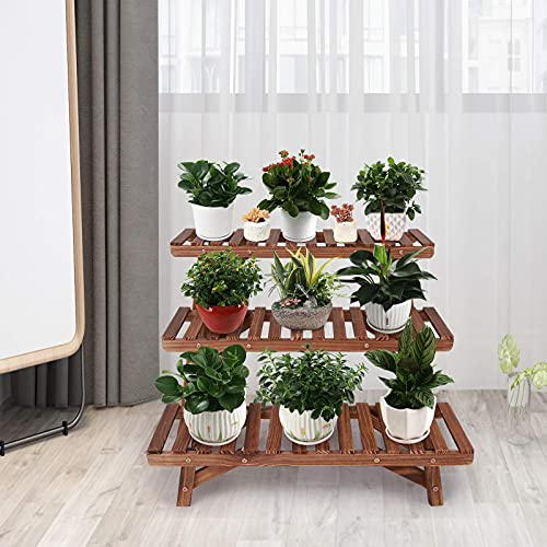Ufine Freestanding 3 Tier Step Design Plant Stand Indoor Outdoor Wood Plant Shelf Display Rack Ladder Flower Pot Holder Planter Organizer