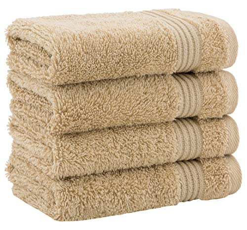 Luxury Turkish Cotton Washcloths for Easy Care, Extra Soft & Absorbent, Fingertip Towels, 4 Pack Washcloth Set by United Home Textile, Sand Taupe
