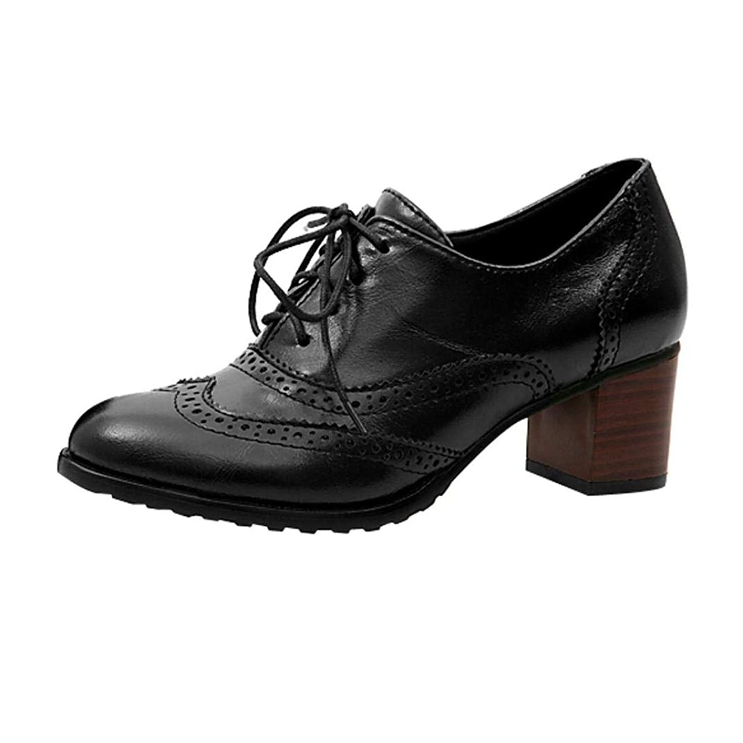 UOKNICE Fashion Women' Lace up Hollow Shoes Oxford Shallow Mouth Single Shoes Block Heel Shoes