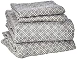 Comfort Spaces Cotton Flannel Breathable Warm Deep Pocket Sheets With Pillow Case Bedding, Twin, Geo Grey