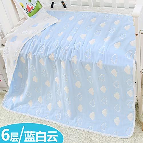 Sijihua Serviette de bain pour bébé en coton pur 6 couches, Blue and White Clouds, 120 x 150cm