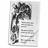 3D Rose Which Way Ought I go from here Chesire cat Alice in Wonderland Quote TWL_193784_1 Towel, 15' x 22'