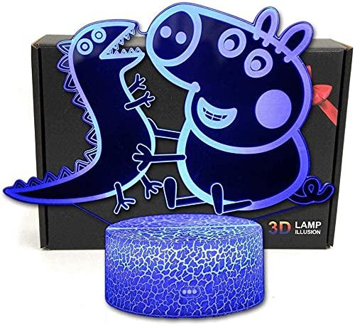 Peppa Pig - Lámpara LED 3D con ilusión visual para juegos, cumpleaños, vacaciones, Halloween, regalo de ideas para niños, adolescentes y novios