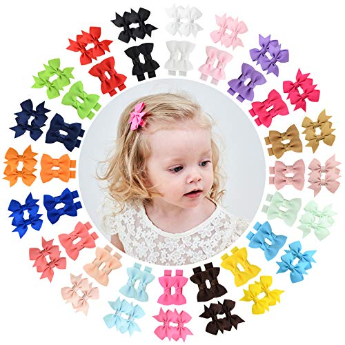 80PCS 2 Style in Pairs Baby Girls Fully Lined Hair Bows Clips Mini 2'' Solid Color Grosgrain Ribbon Alligator Hair Barrettes Accessories with 20 Colors Hair Pins for Newborn Infants Toddlers Teens and Kids