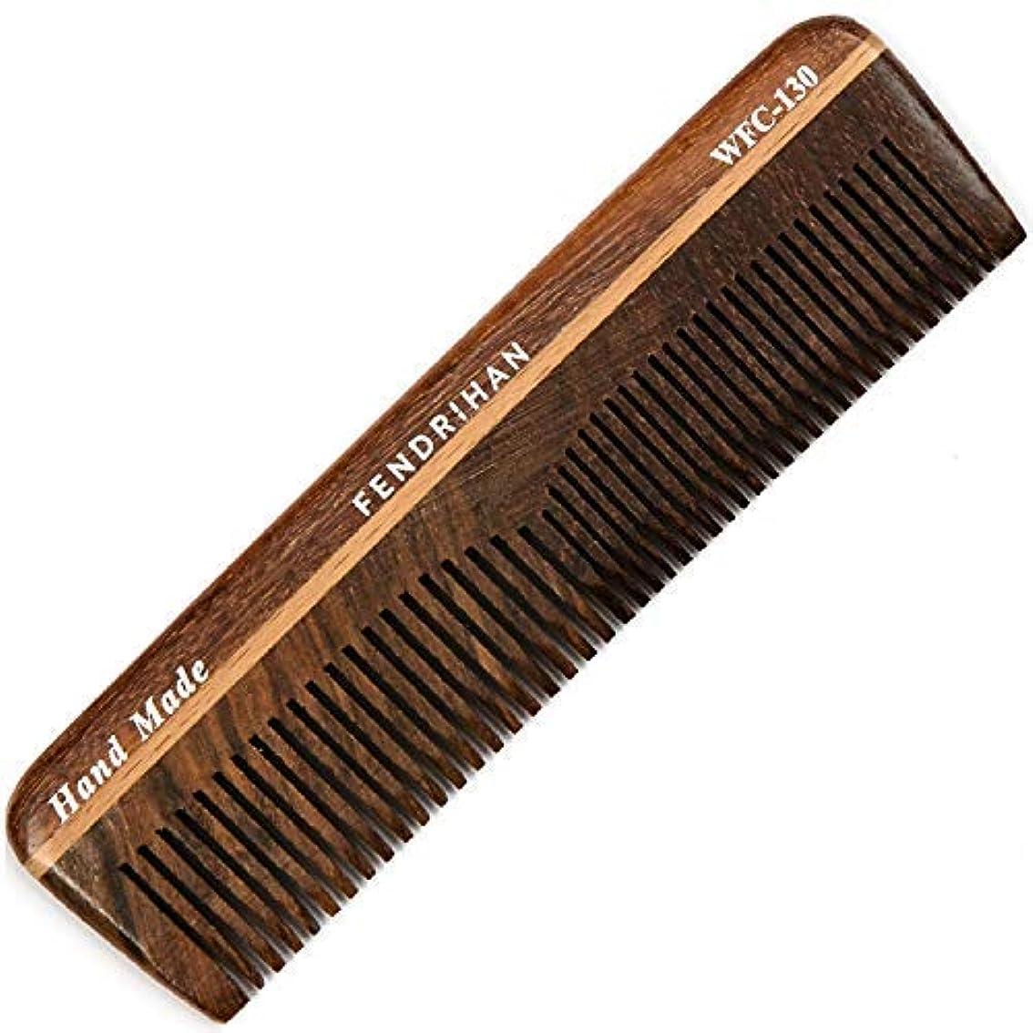 理解圧縮された備品Fendrihan Wooden Double-Tooth Pocket Barber Grooming Comb (5.1 Inches) [並行輸入品]
