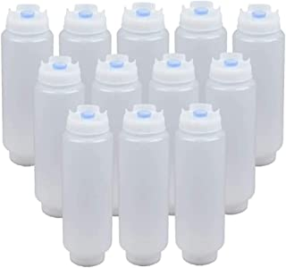 12 Pack of 16 Oz Large Squeeze Bottle Refillable Valve Self Sealing Dispenser for Thick Condiments Sauces Batter