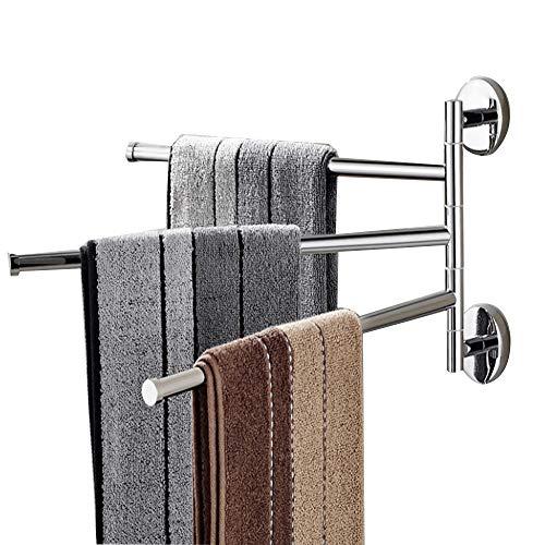 OHIYO Swivel Towel Bar 3-Arm Bathroom Towel Holder Wall-Mounted Swing Out Towel Rack Rustproof Aluminum Space-Saving Folding Towel Rack Towel Organizer for Bathroom, Kitchen, Home, Hotel Silver