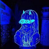 WENJZJ Lámpara 3D Anime Darling In The Franxx Zero Two 002 Led Ilusión Luces nocturnas Iluminación Led Sin Control Remoto 16 Colores