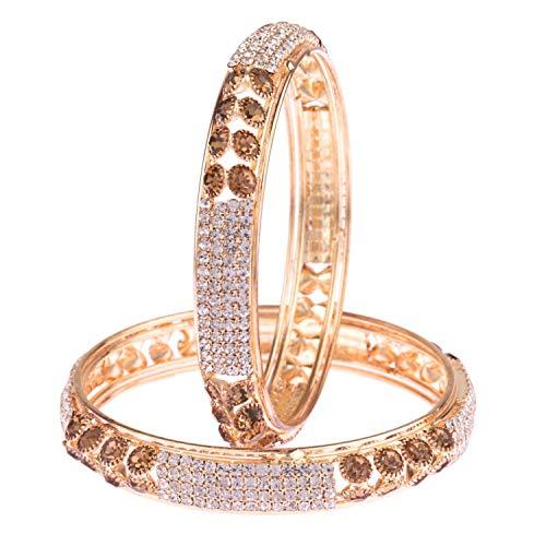 Efulgenz - Juego de pulsera de boda con diamantes de imitación chapados en oro con bollywood indio