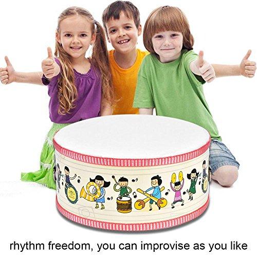 Kindertrommel Mini Hölzerne Spielzeugtrommel mit Tragegurt und Aufklebern für Kinder und Kleinkinder