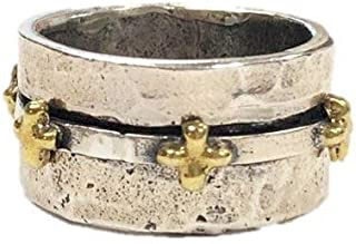 Waxing Poetic Faith Sterling Silver and Brass Spinner Cross Ring
