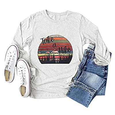 Binshre Women Take A Hike Letter Printed Tshirt Mountain Graphic Shirt Colorful Long Sleeve Casual Tee Hiking Tops Light Grey