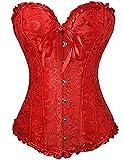 FeelinGirl Vintage Brocado Encaje con Cremallera y Cinta Ajustable Corsé para Mujer Rojo S/ES 32