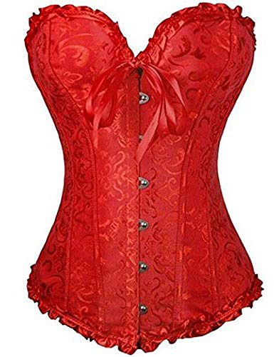 FeelinGirl Bustier Fiesta Vintage Brocado Encaje con Broche y Cinta Ajustable Corsé Disfraz para Mujer Rojo S/Talla 32