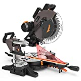 TACKLIFE Sliding Compound Miter Saw 12-Inch, 15-Amp, 3800rpm, Double-Bevel Cut (-45°-0°-45°) with...