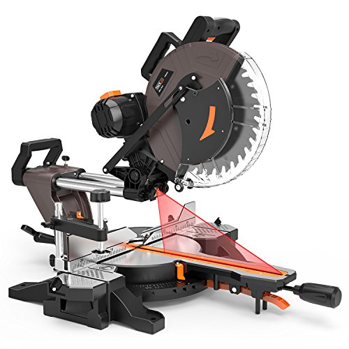 TACKLIFE Sliding Compound Miter Saw 12-Inch, 15-Amp, 3800rpm, Double-Bevel Cut (-45°-0°-45°) with Laser Guide, Extensible Table, Dust Bag, 40T 305mm Blade for Wood Cut - PMS03A