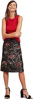 Anthropologie Floral Garden Glitz Sequin Black A-Line Knee Length Skirt