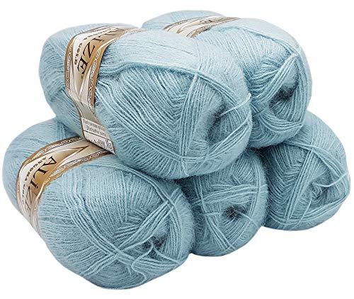 ALIZE 5 ovillos de lana de 100 g con 20% lana, azul...