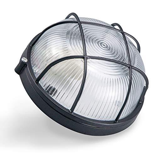 Aplique de pared exterior ovalado redondo Acabado en negro.100x210x80 Lámpara fabricada en aluminio, cristal IP54 (REDONDO NEGRO)